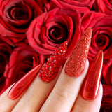 Valentine Red Glitter Chrome Nails with Swarovski Light Siam Crystals