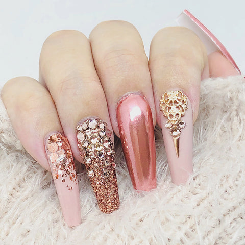 Metallic Mixed Hex Glitter / 20G / Pink Rose Gold for Nail Art