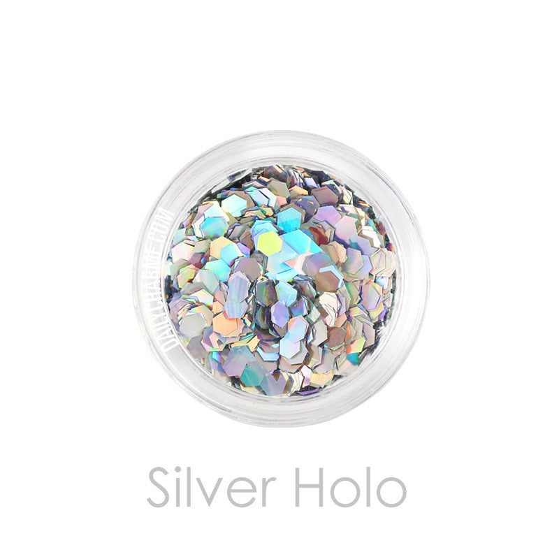 Solvent Resistant Glitter Silver Holo Hex Glitter 0.094