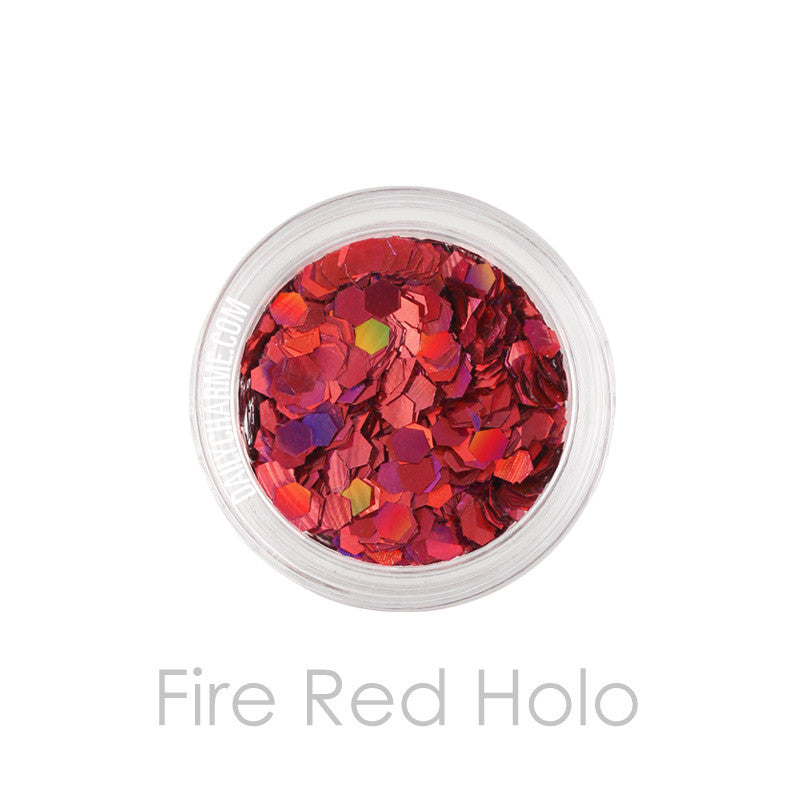 Solvent Resistant Glitter Fire Red Holo Hex Glitter 0.094