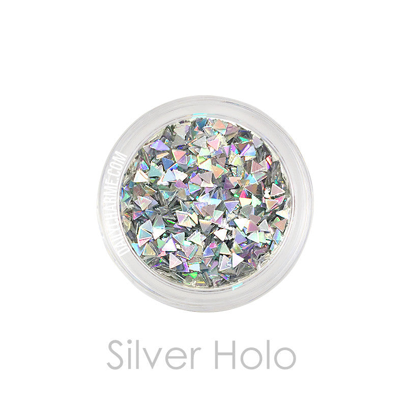 solvent resistant Silver Holo Triangle Glitter Nail art