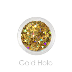 Solvent resistant Gold Holo Triangle Glitter Nail art