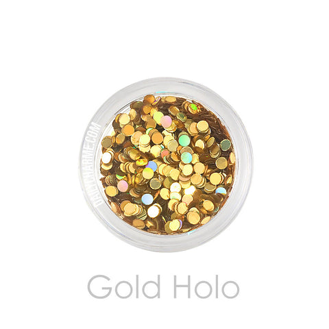 Gold Holo Holographic Round Glitter Dots / 2MM / 3MM Nail Art Decorations