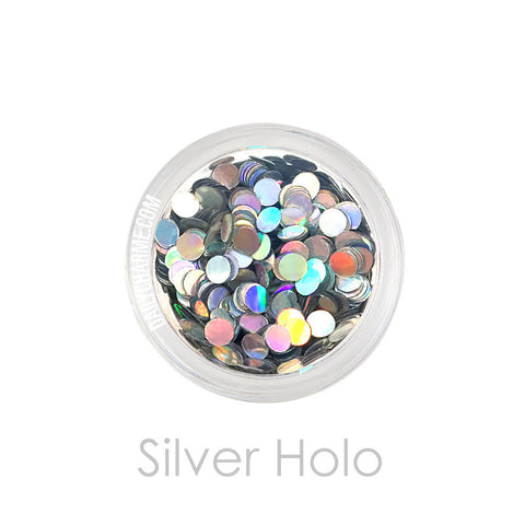Silver Holo Holographic Round Glitter Dots / 2MM / 3MM Nail Art Decorations