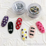 Silver Holo Holographic Emoji Glitter Mustache Nail Art Solvent Resistant Fun DIY Nails