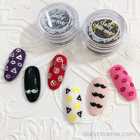 Colorful Emoji Glitter Mustache Nail Art Solvent Resistant Fun DIY Nails