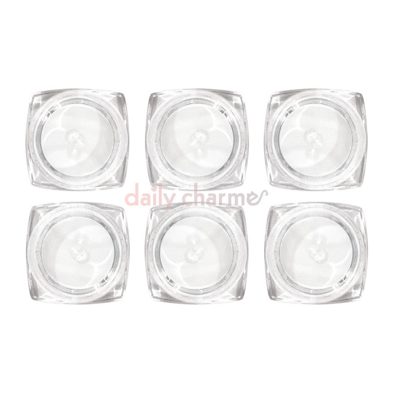 6 Square Base Clear Empty Jars / 3-Grams Nail Art Organizer