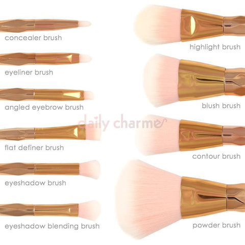 Cute Prismatic Ombre Makeup Cosmetic Brush Set / Rose Gold Pink Powder Contour Eyeshadow