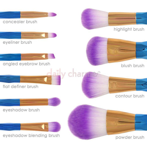 Cute Prismatic Ombre Makeup Cosmetic Brush Set / Galaxy Gradient Purple
