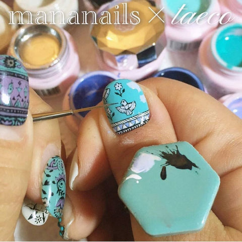 Daily Charme Japanese Nail Art Supply Nail Partner Mananails x Taeco Tile Palette Ring Yellow