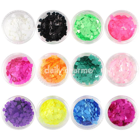 Colorful Heart Glitter Set / 12 Jars Nail Art