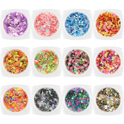 Colorful Mixed Stars & Hearts Glitter Set / 12 Jars