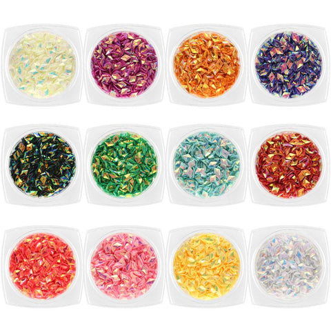 Colorful Iridescent AB Diamond Shape Glitter Set / 12 Jars