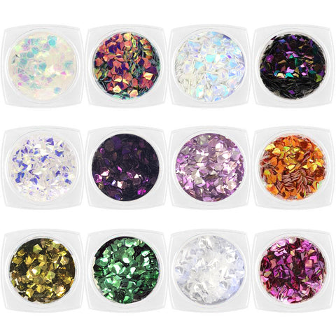 Colorful Iridescent AB Diamond Gem Glitter Set / 12 Jars