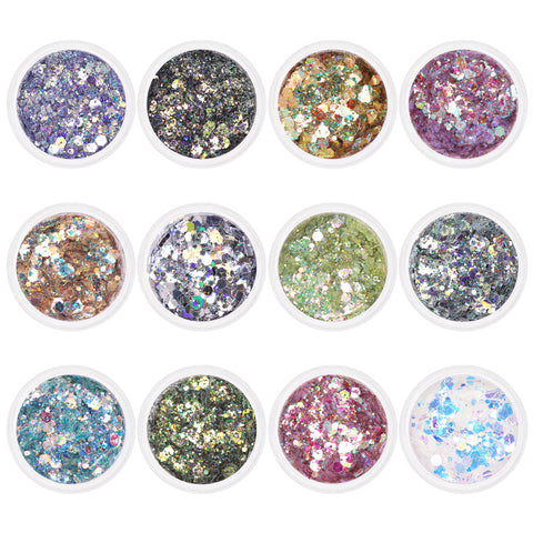 Colorful Iridescent Holographic Mixed Hex Glitter Set / 12 Jars Nail Art Supplies