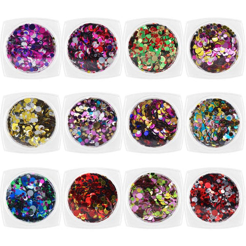 Nail Art Colorful Metallic Confetti Round Glitter Set / 12 Jars