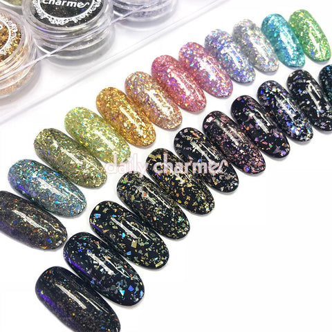 Colorful Holographic Glitter Flakes Set / 12 Jars Nail Art Supplies