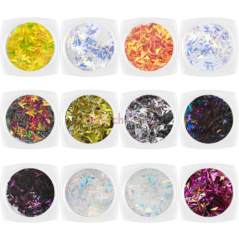 Colorful V Arrow Glitter Set / 12 Jars Iridescent Chameleon Nail Art Glitters