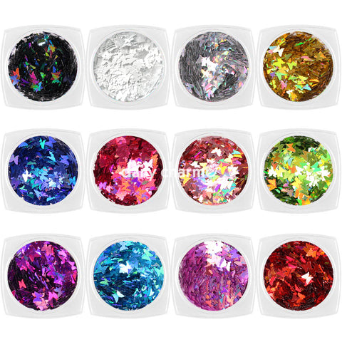 Colorful Holographic Butterfly Glitter Set / 12 Jars Easy Nail Art