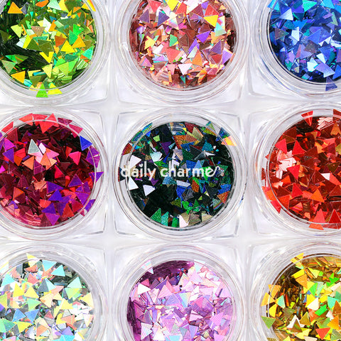 Colorful Holographic Triangle Glitter Set 12 Jars Glitter Placement Pattern Bow Design DIY Nail