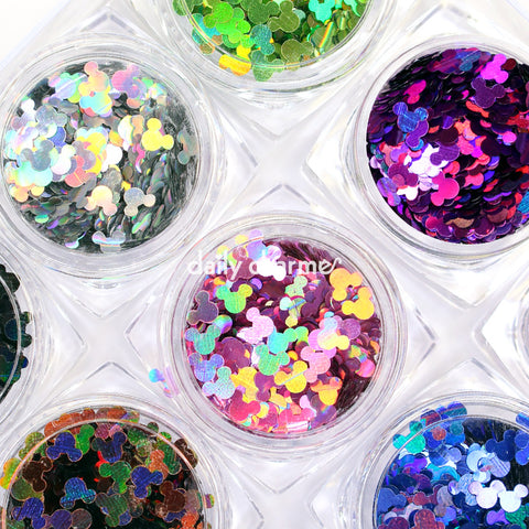 Colorful Holographic Mickey Mouse Head Nail Art Glitter Set / 12 Jars DIY