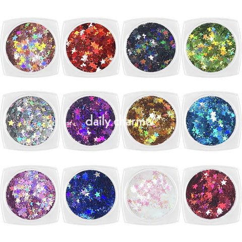 Daily Charme Nail Art Colorful Holographic Stars Glitter Set / 12 Jars