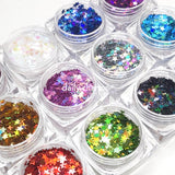 Colorful Holographic Stars Glitter Set / 12 Jars
