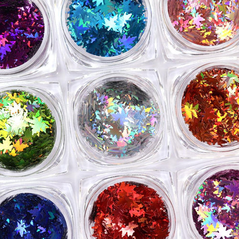 Colorful Holographic Maple Leaf Glitter Set / 12 Jars Rainbow Nail Art