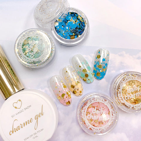 Gilded in Gold Glitter Mix Set / 12 Jars Bright Color Nail Art
