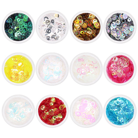 Iridescent Holographic Bubble Rings Glitter Mix / 12 Jars Nail Art