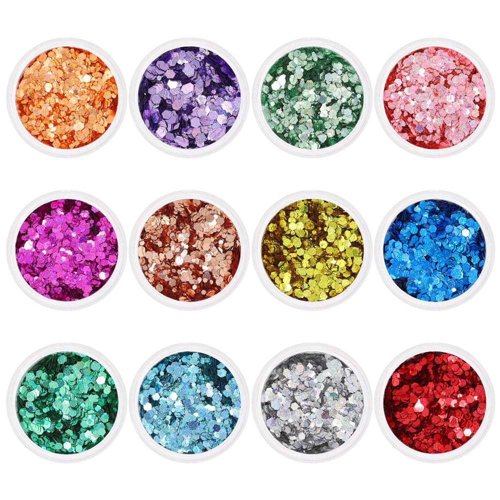 Colorful Holographic Pixel Hex Glitter Set / 12 Jars Rainbow Nail Art