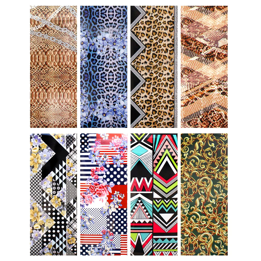 Nail Art Foil Paper Bundle / Fashionista Prints / 8 Designs Leopard Cheetah Snakeskin Geometric Nail Art
