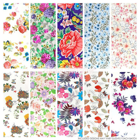 Nail Art Foil Paper Bundle / Floral / 10 Designs / 100 Pieces
