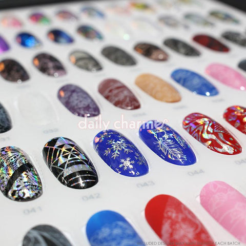 Nail Art Foil Paper Bundle / Holographic / 10 Designs / 100 Pieces