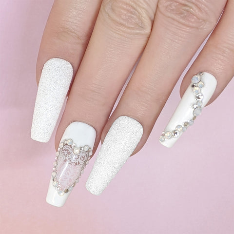 Glitter Romantic Foil Transfer Gel Nails White Lace Foil