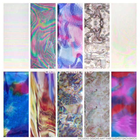 Nail Art Foil Paper Bundle / Texture / 10 Designs / 100 Pieces Pearl Seashell Oil Spill Nails