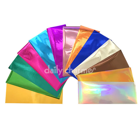 Nail Art Foil Paper Bundle / 13 Colors / Metallic Holographic Gold Silver Pink Blue Mixed