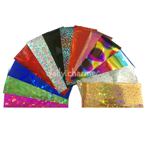 Nail Art Foil Paper Bundle / 13 Colors / 100+ Pieces / Mixed Metallic Holographic Gold Silver Pink Rainbow