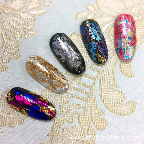 Foil Paper Nail Art Design Sample Holographic Gold Silver Leopard Nails