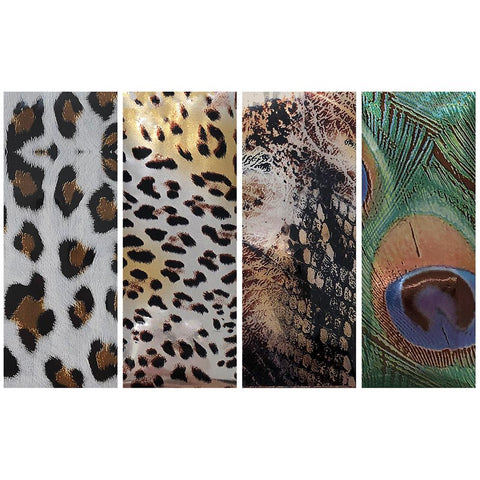 Nail Art Foil Paper / Animal Prints / 10 Pieces Snow Leopard Cheetah Snakeskin Peacock Nails