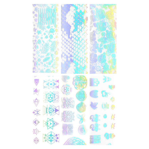 Nail Art Foil Paper / Holographic Prints Tropical Print, Snakeskin, Lovely Roses, Water Marble, Cute Skulls, Geometric Triangles