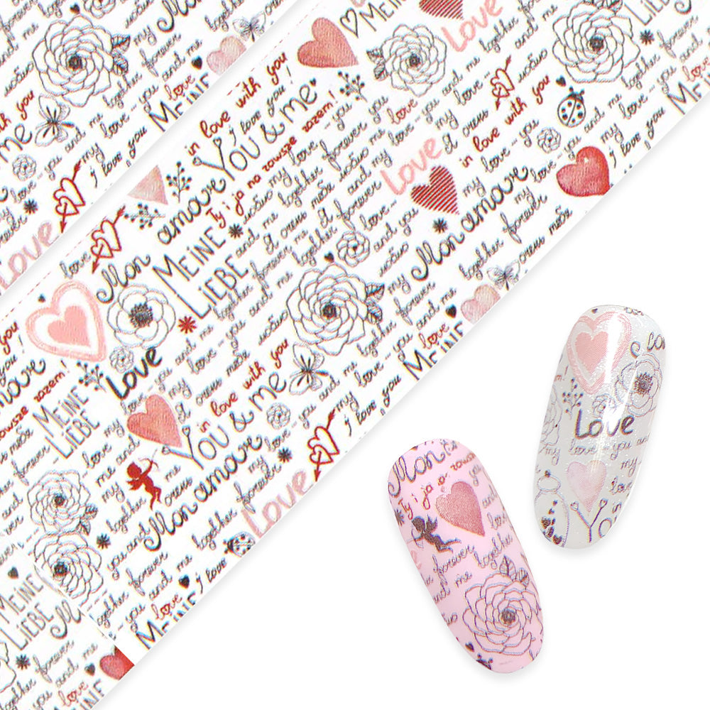 Daily Charme nail art foil paper in Love Letters Valentine