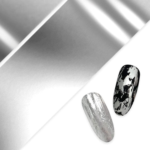 Nail Art Foil Paper / Silver Metallic Design Platinum Nails