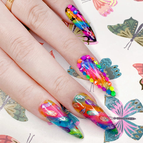 Nail Art Foil Paper / Colorful Feathers Holographic