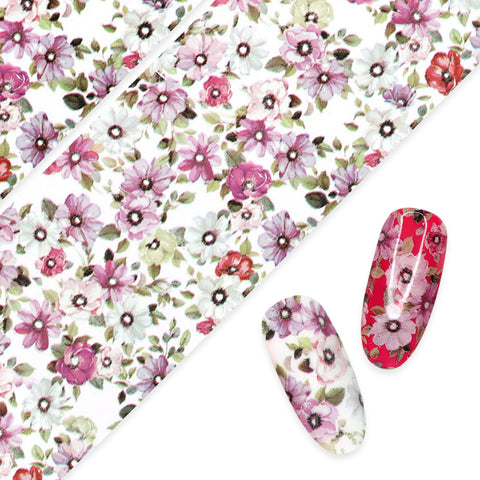 Nail Art Foil Paper / Windflowers White Purple Pink Poppy Flower Nails