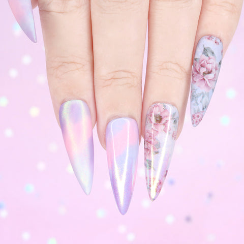 Nail Art Foil Paper / Tea Time Roses Pastel Blue Floral Nails