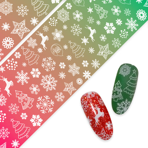 Nail Art Foil Paper / Snowy Forest Christmas Tree Reindeer Snowflake Santa Design