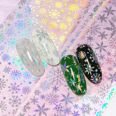 Nail Art Foil Paper / Magical Snowfall Rainbow Holographic Snowflake