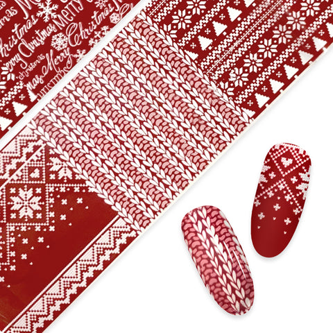 Nail Art Foil Paper / Christmas Sweater Red Nordic Pattern