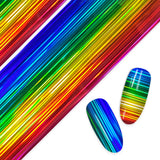 Daily Charme Nail Art Foil Paper Holographic Rainbow Stripe Pride Nails